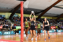 Bailey Mes shoots a goal during the Silver Ferns first test against the Jamaican Sunshine Girls for the Taini Jamison Trophy.