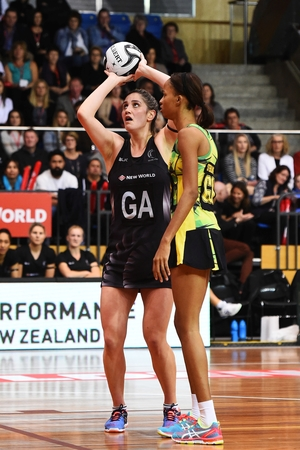 Te Paea Selby-Rickit shooting in first test against Jamaica in Taini Jamison Trophy series