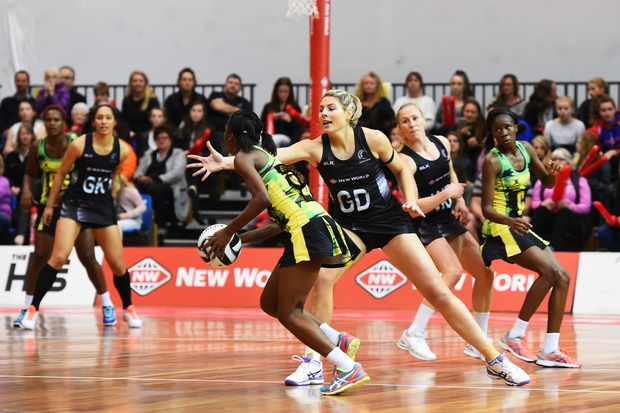 Silver Fern Storm Purvis playing Jamaica in Taini Jamison Trophy series