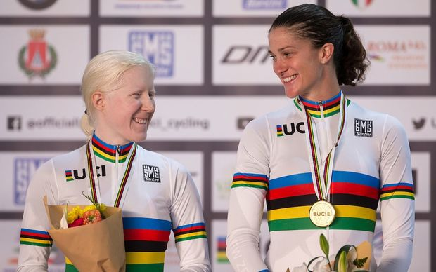 Emma Foy and Laura Thompson at the World Championships in Italy, in March, where they won gold.
