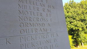 Alexander Ormond's name on the memorial at the Caterpillar Valley cemetery.