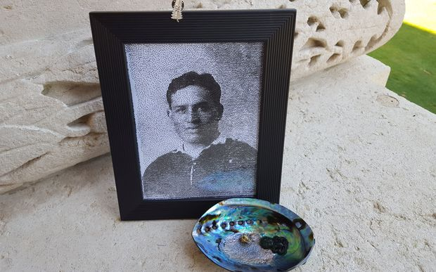 A photo of Alexander Ormond and a paua shell from the area he grew up in was laid by his family at the Somme memorial.