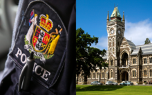 A composite image from file photos shows a police officer, left, and Otago University