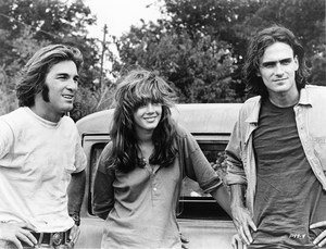 "Beach Boy Dennis Wilson, Laurie Bird (known only as ""The Girl"" because those were the days) and singer/songwriter James Taylor in Two-Lane Blacktop"