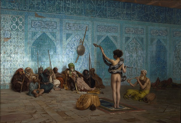 The cover of the book Orientalism (1978) is a detail from the 19th-century Orientalist painting The Snake Charmer, by Jean-Léon Gérôme