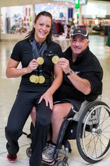 Sophie Pascoe with her long-time coach, Roly Crichton.