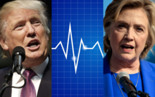 Donald Trump, left, and Hillary Clinton - with a heart monitor graph in the centre