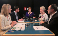 Susie Ferguson (centre) and the four Wellington mayoral candidates (from left to right) Jo Coughlan, Justin Lester, Nicola Young and Nick Leggett.