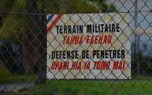 Perimeter fence of the French military base in Tahiti.