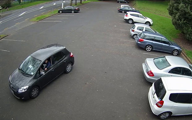 CCTV footage shows the two women leaving the carpark in the victim's car.