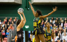 Silver Fern's Bailey Mes makes a shot at goal. New Zealand Silver Ferns v Jamaica, Taini Jamison Trophy international netball, Arena Manawatu, Palmerston North,