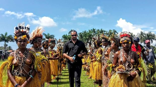 The Governor of Papua New Guinea's Oro Province, Gary Juffa (centre)