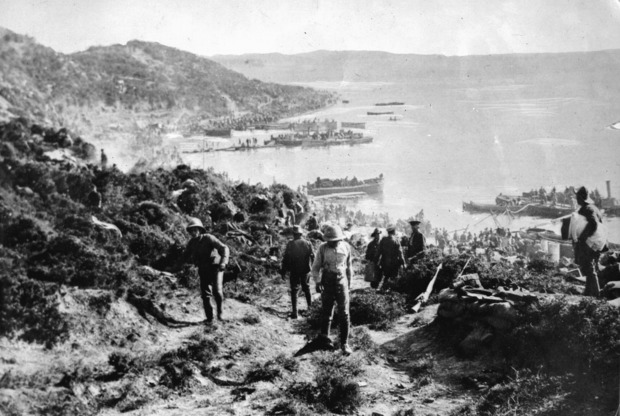 New Zealand and Australian soldiers landing at Anzac Cove