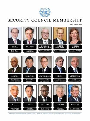 There is one woman on the UN Security Council.