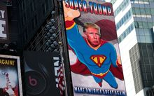 A digital billboard supporting Donald Trump depicts him as 'Super Trump' in Times Square, September 15, 2016 in New York City.