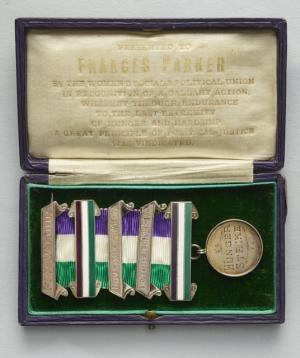 The Women's Social and Political Union Medal for Valour awarded to suffragette Frances Parker