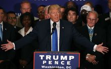 Surrounded by military veterans, US Republican presidential nominee Donald Trump says US President Barack Obama was born in the United States, during a campaign event at the Trump International Hotel, September 16, 2016 in Washington, DC.