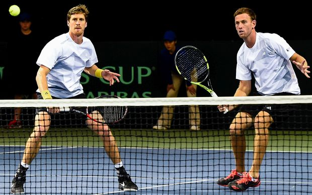 Michael Venus (r) and Marcus Daniell of New Zealand
