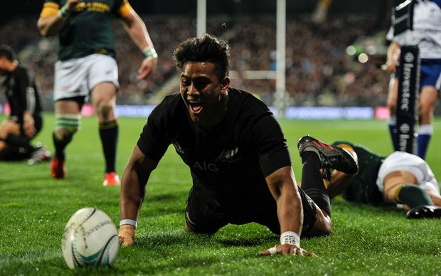 All Blacks player Julian Savea celebrates a try. vs South Africa Springboks Christchurch AMI stadium 17/09/16