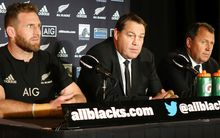 Kieran Read, Steve Hansen and Ian Foster at their Christchurch news conference.