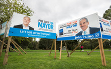 Local mayoral election billboards