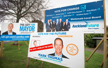 Local mayoral election billboards in Auckland