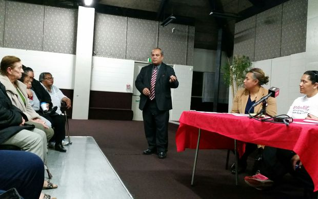 Mangere MP Su'a William Sio addressing the meeting.