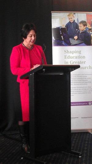Hekia Parata announces the merger plan in Christchurch.