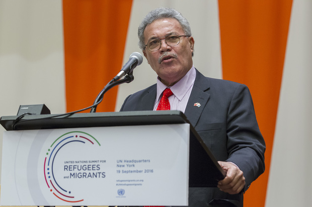 Enele Sosene Sopoaga, Prime Minister and Minister for Public Utilities of Tuvalu, addresses the United Nations high-level summit on large movements of refugees and migrants.  Sep 2016