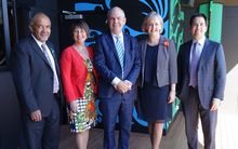 Associate Economic Development Minister Te Ururoa Flavell, National List MP Maureen Pugh, Economic Development Minister Steven Joyce, Selwyn MP Amy Adams, and Energy and Resources and Transport Minister Simon Bridges.
