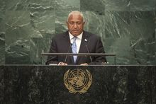 Fiji Prime Minister Frank Bainimarama addressing the 71st Session of the UN General Assembly in New York in September 2016