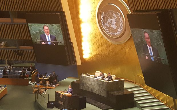 John Key speaking at the United Nations.