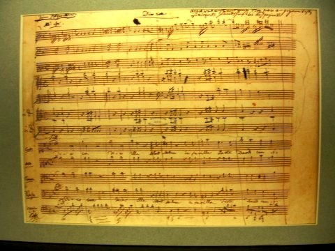 Facsimile of Dies Irae page from Requiem in D minor by Mozart