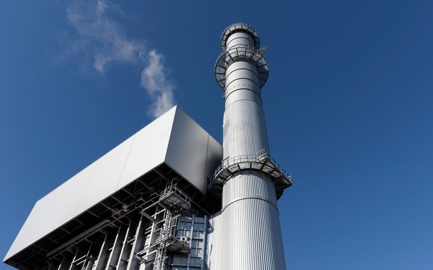 Low angle view of boiler and stack at a gas-fired power station