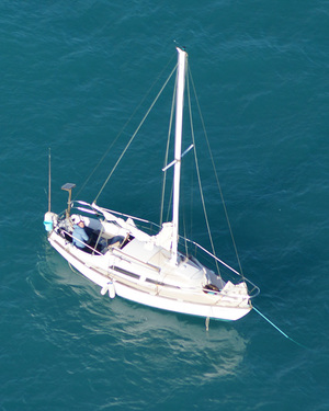 The Luna yacht was spotted by a search plane on Monday.