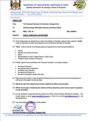 Fiji Education Ministry Circular to heads of schools September 2016