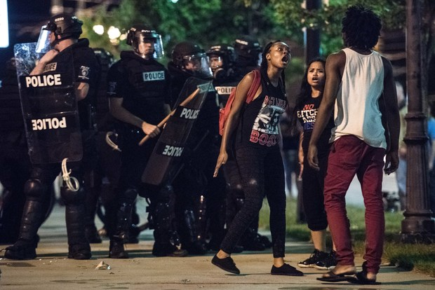 Demonstrators arguing during protests in Charlotte, North Carolina.