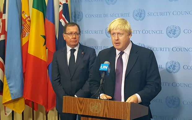NZ Foreign Affairs Minister Murray McCully (left) and British Foreign Secretary Boris Johnson at the UN Security Council.