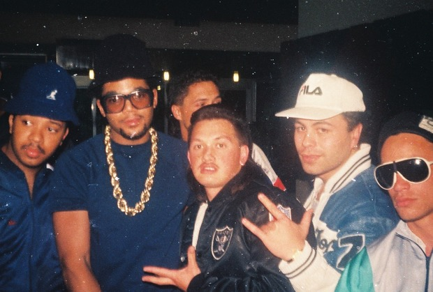 Run-D.M.C. with Upper Hutt Posse (L-to-R: DJ Run, D.M.C, DLT, Rhys B, Tee Pee, D Word)