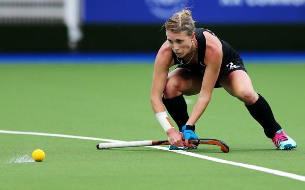 Emily Gaddum playing for the Black Sticks at the 2014 Glasgow Commonwealth Games.