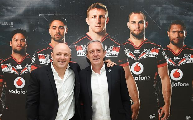 Outgoing Warriors head coach Andrew McFadden and Warriors CEO Jim Doyle.