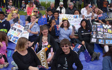Supporters welcoming New Zealand's Paralympians home.
