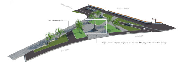 A plan of the proposed new location for the Foxton cenotaph.