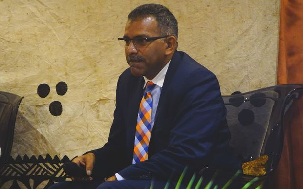 Fiji's Trade Minister Faiyaz Koya talks to business people in Pacific Harbour