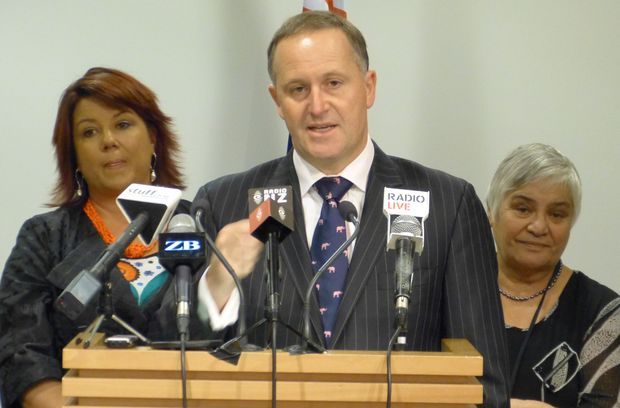 John Key with ministers Paula Bennett, at left, and Tariana Turia.