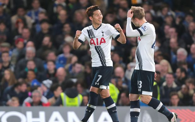 Tottehnham Hotspur's Son Heung-min celebrates a goal in the EPL.