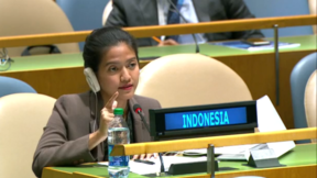Nara Masista Rakhmatia, an official at Indonesia's permanent mission to the United Nations in New York, responds to criticism of her country's treatment of West Papuans by Pacific Island countries at the UN General Assembly, 2016.