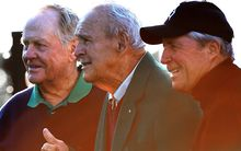 Golfing greats Jack Nicklaus, the late Arnold Palmer and Gary Player at the 2016 U.S. Masters.