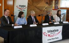 Auckland mayoral candidates (from left) Mark Thomas, Chloe Swarbrick, Phil Goff, John Palino and Vic Crone  at the Radio Waatea debate in Mangere.