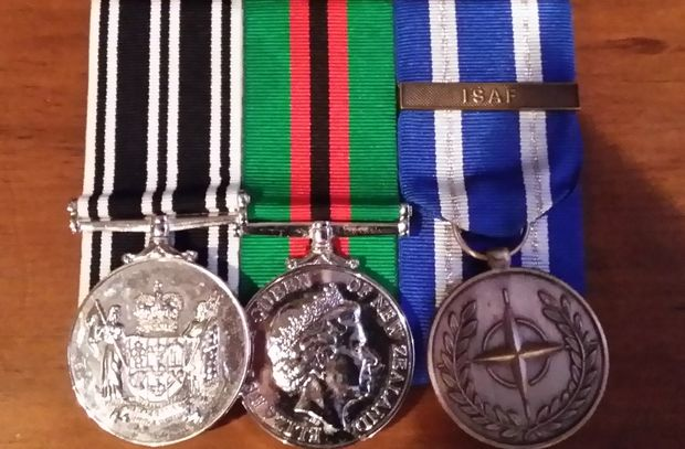 The stolen medals. From left, The NZ Operational Service Medal, the NZ General Service Medal 2002 (Afghanistan), and the NATO medal for the Non-Article 5 ISAF operation in Afghanistan.